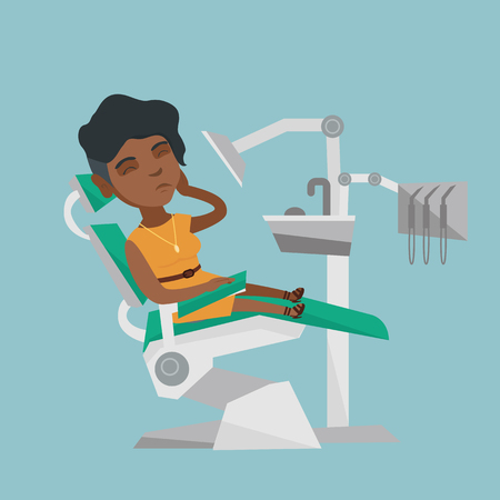 Young upset african-american patient visiting dentist because of toothache. Sad patient suffering from toothache. Sorrowful woman having a strong toothache. Vector cartoon illustration. Square layout. Illustration
