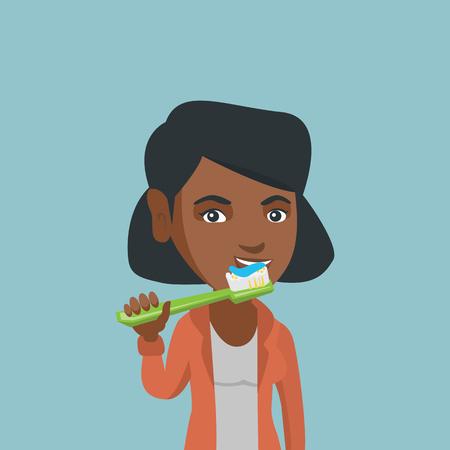 Młoda kobieta afro-amerykańska, szczotkowanie zębów. Uśmiechnięta kobieta czyszczenia zębów. Szczęśliwa kobieta ze szczoteczką do zębów w ręku. Koncepcja pielęgnacji zębów i stomatologii. Ilustracja kreskówka wektor. Układ kwadratowy.