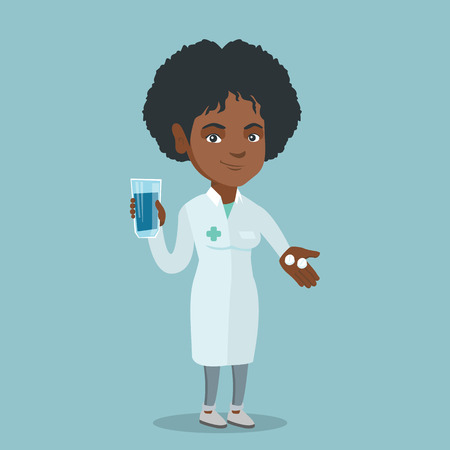 Young african-american pharmacist holding a glass of water and pills in hands. Smiling pharmacist in medical gown giving medication. Doctor offering pills. Vector cartoon illustration. Square layout.