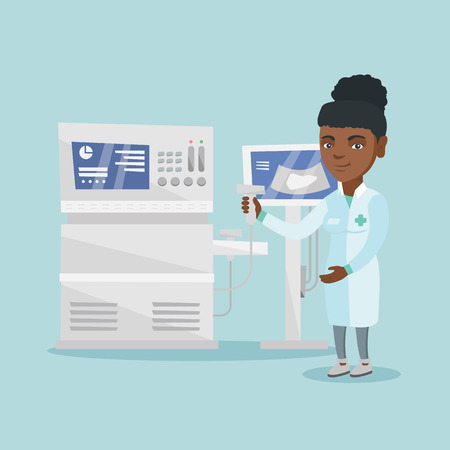 African-american operator of an ultrasound scanning machine analyzing the liver of patient. Young smiling doctor working on a modern ultrasound equipment. Vector cartoon illustration. Square layout.