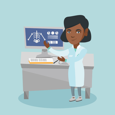 Young african radiologist doctor in a medical gown examining a skeleton radiograph. Radiologist doctor looking at a chest radiograph on a computer screen. Vector cartoon illustration. Square layout.