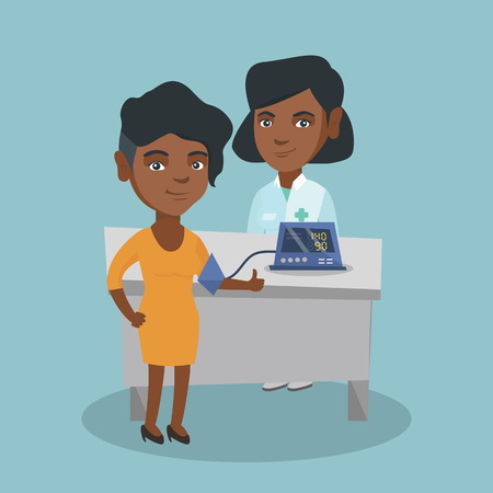 Young african-american woman checking blood pressure with a digital blood pressure meter. Woman gives thumb up while doctor measures her blood pressure. Vector cartoon illustration. Square layout.