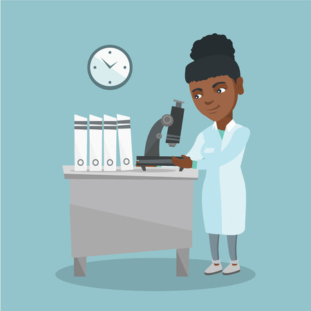 African-american laboratory assistant using a microscope. Young scientist working in the laboratory with a microscope. Vector cartoon illustration. Square layout.