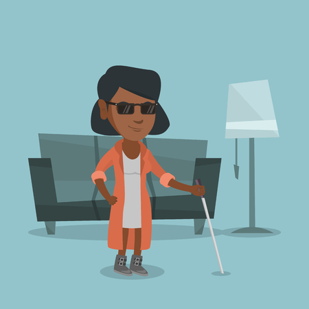 African-american blind woman standing with a walking stick at home. Young blind woman in dark glasses standing with a cane. Vector cartoon illustration. Square layout. Illustration