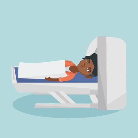 Young african-american woman undergoes a magnetic resonance imaging scan test. Magnetic resonance imaging machine scanning a frightened patient. Vector cartoon illustration. Square layout.