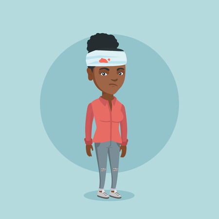 Upset african-american woman with bandages around her head. Sad injured woman with a bandaged head. Full length of a young woman wounded in head. Vector cartoon illustration. Square layout.
