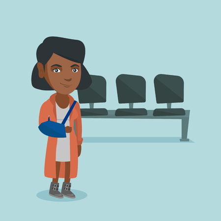 Injured african-american woman wearing an arm brace because of broken arm. Full length of a young woman with broken arm in a bandage. Vector cartoon illustration. Square layout.