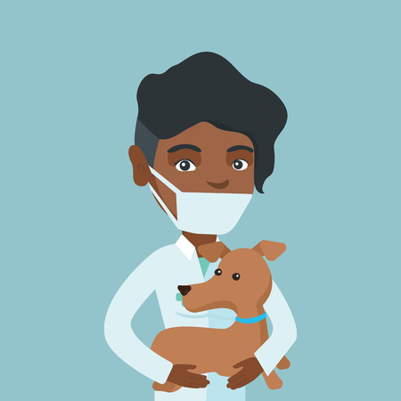 Young african-american veterinarian doctor in medical mask and gown holding a dog. Veterinarian doctor examining a dog. Medicine and pet care concept. Vector cartoon illustration. Square layout.