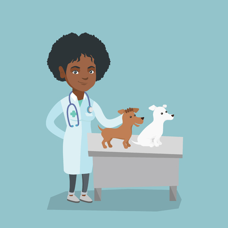 Young african-american veterinarian doctor examining pets in hospital. Veterinarian doctor stroking dogs at vet clinic. Concept of medicine and pet care. Vector cartoon illustration. Square layout. Çizim