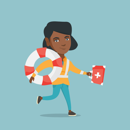 Young african-american paramedic running to patients. Paramedic running with a first aid box and a lifebuoy. Vector cartoon illustration. Square layout.