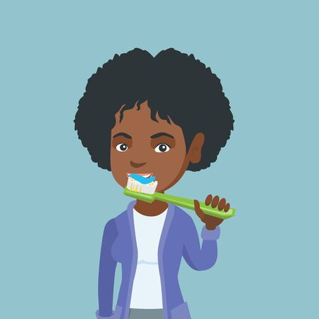 Young smiling african-american woman brushing her teeth. Cheerful woman taking care of her teeth. Happy girl with a toothbrush in hand. Vector cartoon illustration. Square layout.