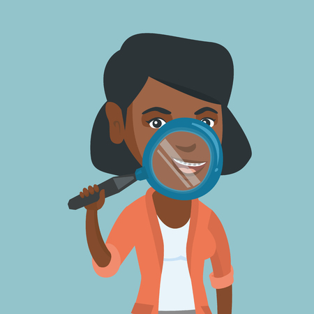 Young african-american smiling woman holding a magnifying glass in front of her teeth with braces. Woman demonstrating teeth with braces through a magnifier. Vector cartoon illustration. Square layout