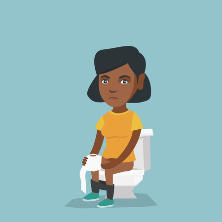 African woman sitting on the toilet bowl and suffering from diarrhea. Woman holding toilet paper roll and suffering from diarrhea. Girl sick with diarrhea. Vector cartoon illustration. Square layout
