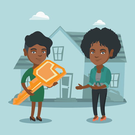 Young african real estate agent giving key to a new house owner. Real estate agent passing house key to a cheerful client. Happy woman buying a new house. Vector cartoon illustration. Square layout.