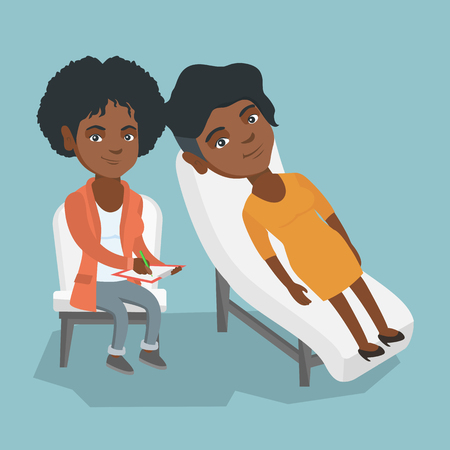 Young African-American patient lying on the sofa and talking about problems with psychotherapist or psychologist. Psychologist having session with a patient. Vector cartoon illustration. Square layout. Stok Fotoğraf - 94026351