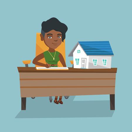 Young african real estate agent sitting at the table with house model on it and signing a contract. Real estate agent signing a home purchase contract. Vector cartoon illustration. Square layout. Illustration