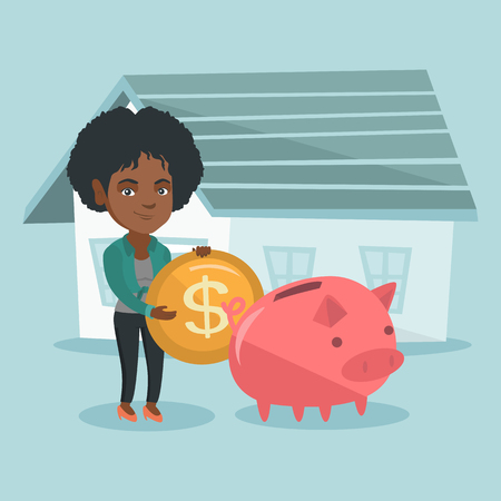 Young african-american woman putting a dollar coin in a piggy bank on the background of house. Concept of saving money and money investment in real estate. Vector cartoon illustration. Square layout.
