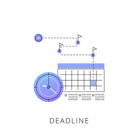 Neon deadline vector line icon isolated on white background. Deadline line icon for infographic, website or app. Çizim