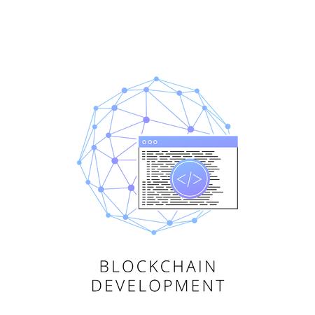 インフォグラフィック、ウェブサイトやアプリのためのブロックチェーン開発ラインアイコン。