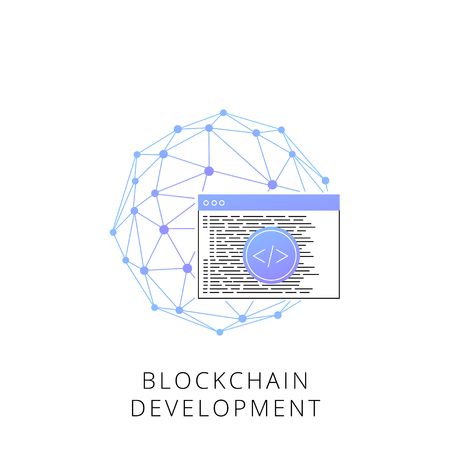 Blockchain development line icon for infographic, website or app.
