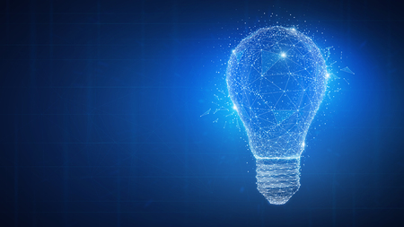 Polygon idea light bulb on blockchain technology network hud background. Global cryptocurrency blockchain business banner concept. Lamp symbolize inspiration, innovation, invention, effective thinking