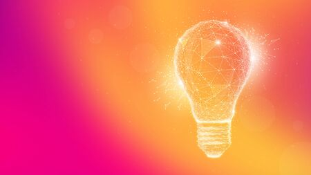 Polygon idea light bulb on blurred gradient multicolored background. Global cryptocurrency blockchain business banner concept. Lamp symbolize inspiration, innovation, invention, effective thinking. Stock Photo