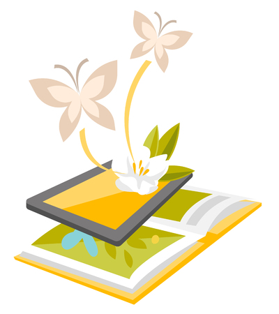 Book scanned by a tablet with augmented reality application