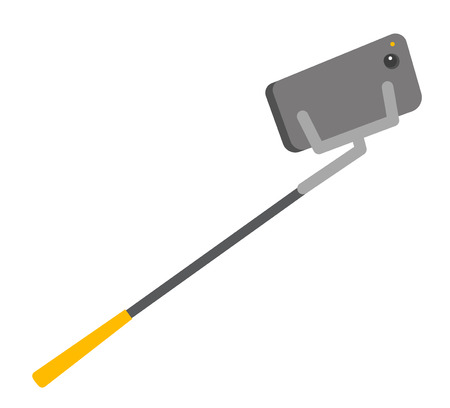 Smartphone mounted on an adjustable clamp of selfie stick vector cartoon illustration isolated on white background. Иллюстрация