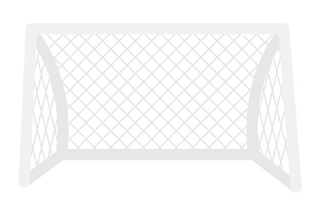 Football metal gate with net vector cartoon illustration isolated on white background.
