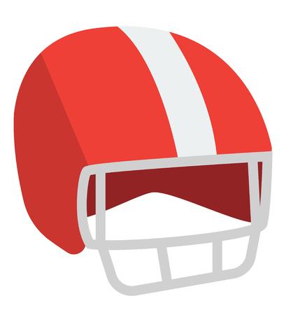 Red American football helmet vector cartoon illustration isolated on white background. Illustration