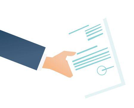 Hand van zakenman die een illustratie van het wettelijke document vectordiebeeldverhaal houden op witte achtergrond wordt geïsoleerd.