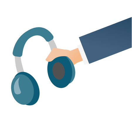 Hand holding headphone vector cartoon illustration isolated on white background.