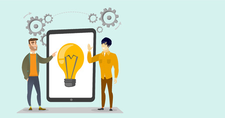 Caucasian white and asian business men pointing at idea light bulb on the tablet during brainstorming session. Brainstorming and creative idea concept. Vector cartoon illustration. Horizontal layout. Çizim
