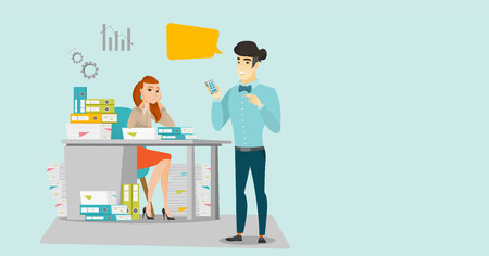 Young stressful caucasian white office worker sitting at workplace with stacks of papers and looking at her asian employer pointing at mobile phone. Vector cartoon illustration. Horizontal layout. 矢量图像