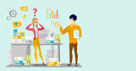 Worried caucasian white business woman standing in front of desk with stacks of papers while her asian coworker holding clipboard and giving thumb up. Vector cartoon illustration. Horizontal layout.