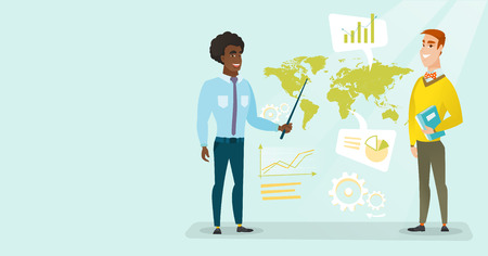 African and caucasian white businessmen standing on the background of world map. International global business and business globalization concept. Vector cartoon illustration. Horizontal layout.