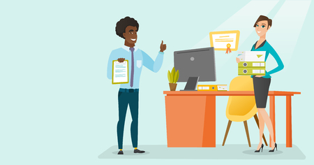 Arican-american and caucasian white office workes holding business documents in hands. Business people with clipboard and folders standing in office. Vector cartoon illustration. Horizontal layout. 일러스트
