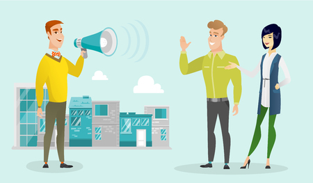 Young caucasian white businessman making announcement through a megaphone on a city background. Concept of business announcement and advertisement. Vector cartoon illustration. Horizontal layout.