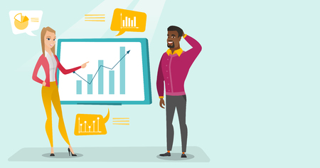 Young african-american businessman and caucasian white business woman pointing at board with growth chart and presenting review of financial data. Vector cartoon illustration. Horizontal layout. 일러스트