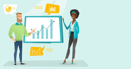 Young caucasian white businessman and african-american business woman pointing at board with growth chart and presenting review of financial data. Vector cartoon illustration. Horizontal layout.