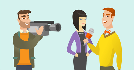 Young caucasian white reporter with a microphone making an interview with asian business woman. Operator filming an interview with journalist and woman. Vector cartoon illustration. Horizontal layout.
