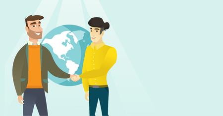 Two young multiracial business partners shaking hands on the background of globe after successful deal. International business partnership concept. Vector cartoon illustration. Horizontal layout.