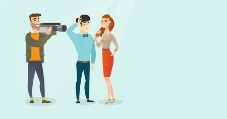 Young caucasian white reporter with a microphone making an interview with an asian businessman. Operator filming an interview with journalist and man. Vector cartoon illustration. Horizontal layout.