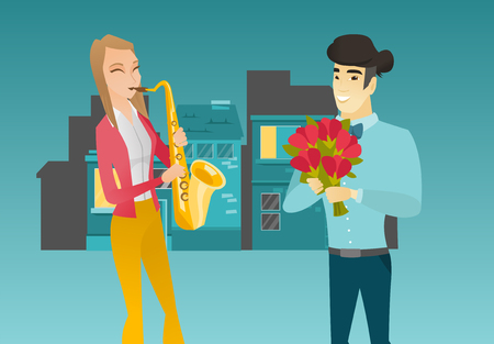 Young caucasian white woman with closed eyes playing the saxophone in the city street while her asian boyfriend standing nearby with bouquet of flowers. Vector cartoon illustration. Horizontal layout.