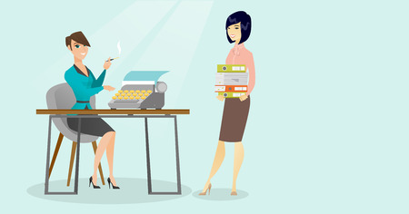 Caucasian white journalist smoking a cigarette and writing an article on a vintage typewriter while her asian colleague stands with stack of documents. Vector cartoon illustration. Horizontal layout. Illustration