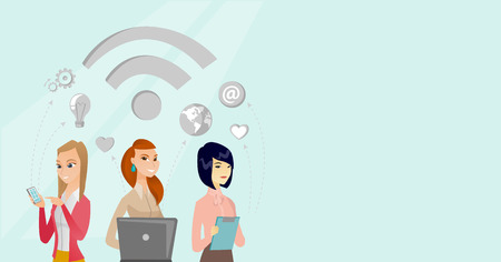 Caucasian white and asian business women using laptop computer, digital tablet, smartphone under wifi symbol. Internet technology and networking concept. Vector cartoon illustration. Horizontal layout Vettoriali