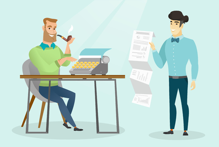 Young caucasian white journalist smoking a pipe and writing an article on a vintage typewriter while his asian colleague stands with document in hand. Vector cartoon illustration. Horizontal layout. Illustration