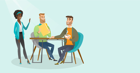 Young multiracial business people drinking coffee and talking at business meeting. Caucasian white men and african woman chatting at business meeting. Vector cartoon illustration. Horizontal layout.
