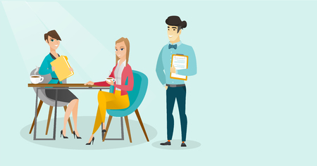 Young multiracial business people drinking coffee and talking at business meeting. Caucasian white women and asian man chatting at business meeting. Vector cartoon illustration. Horizontal layout. 向量圖像
