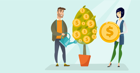 Happy caucasian white businessman watering financial tree and young asian woman picking gold dollar coin from this tree. Man investing money in business. Vector cartoon illustration. Horizontal layout Ilustrace